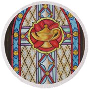 Chapel Window Round Beach Towel
