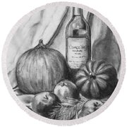 Round Beach Towel featuring the drawing Charcoal Still Life Harvest by Dee Dee  Whittle