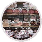 Charcuterie On Display In Butcher Shop In Old Nice Round Beach Towel