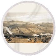 Round Beach Towel featuring the painting Charge Of The Light Cavalry Brigade by William Simpson