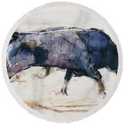 Charging Bull Round Beach Towel by Mark Adlington