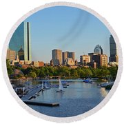 Charles River At Sunset Round Beach Towel