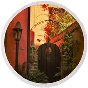 Round Beach Towel featuring the photograph Charleston Garden Entrance by Kathy Baccari