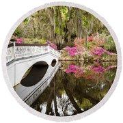 Charleston Garden Photo Vertical Version - Azaleas And Spanish Moss Round Beach Towel