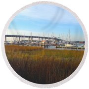 Charleston Harbor And Marsh Round Beach Towel by M West