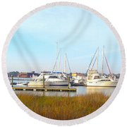 Charleston Harbor Boats Round Beach Towel by M West