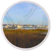 Charleston Harbor Panorama Round Beach Towel by M West