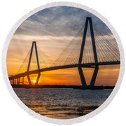 Charleston Sun Setting  Round Beach Towel