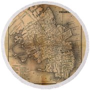 Charleston Vintage Map No. I Round Beach Towel