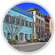 Charleston's Rainbow Row Round Beach Towel