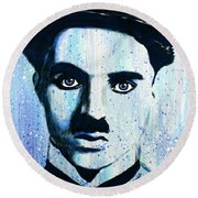 Round Beach Towel featuring the painting Charlie Chaplin Little Tramp Portrait by Bob Baker