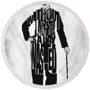 Charlie Chaplin Typography Poster Round Beach Towel