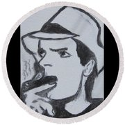 Charlie Sheen Round Beach Towel by Kathy Marrs Chandler
