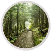 Round Beach Towel featuring the photograph Charlies Bunion Bald Trail by Debbie Green