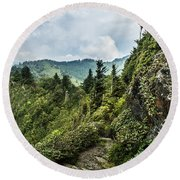 Round Beach Towel featuring the photograph Charlies Bunion Trail by Debbie Green
