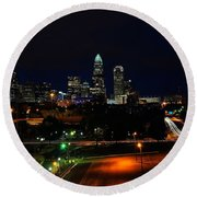 Charlotte Nc At Night Round Beach Towel