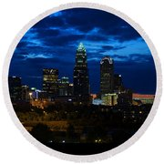 Charlotte North Carolina Panoramic Image Round Beach Towel