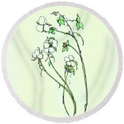 Round Beach Towel featuring the painting Charming Cotton Bolls by Eloise Schneider