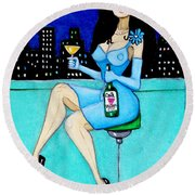 Charming Lady At Night Round Beach Towel by Don Pedro De Gracia