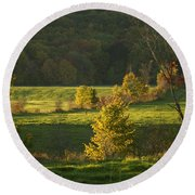 Charming Nature Scene Round Beach Towel