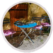 Round Beach Towel featuring the photograph On The Patio by Dany Lison