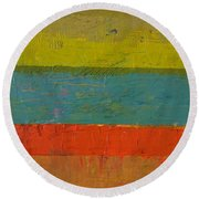 Chartreuse And Blue With Orange Round Beach Towel
