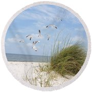Chasing Gulls Round Beach Towel by Jan Amiss Photography
