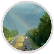 Chasing The Rainbow Round Beach Towel by M West