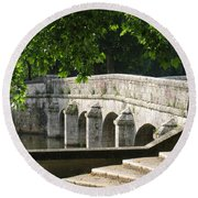 Chateau Chambord Bridge Round Beach Towel