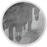Chateau Chambord Reflection Round Beach Towel
