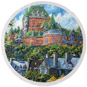 Chateau Frontenac By Prankearts Round Beach Towel