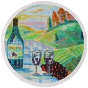 Round Beach Towel featuring the painting Chateau Wine by Diane Pape