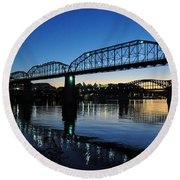 Tennessee River Bridges Chattanooga Round Beach Towel