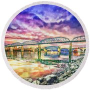 Chattanooga Reflection 1 Round Beach Towel