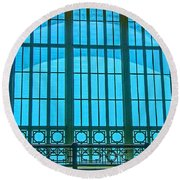 Round Beach Towel featuring the photograph Chattanooga Train Depot Stained Glass Window by Susan  McMenamin