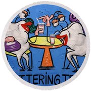 Round Beach Towel featuring the painting Chattering Teeth Dental Art By Anthony Falbo by Anthony Falbo