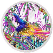 Cheerful Parrot. Colorful Art Collection. Promotion - August 2015 Round Beach Towel