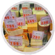 Cheese Display Round Beach Towel