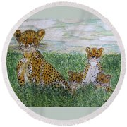 Cheetah And Babies Round Beach Towel by Kathy Marrs Chandler