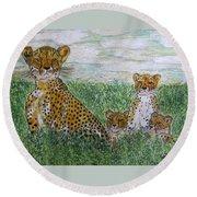 Cheetah And Babies Round Beach Towel