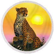 Cheetah And Cubs Round Beach Towel by MGL Studio - Chris Hiett