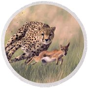 Cheetah And Gazelle Painting Round Beach Towel