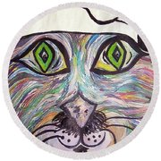 Round Beach Towel featuring the painting Chef Pierre ... A Cat With Good Taste by Eloise Schneider