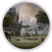 Cherish Our Earth's Creatures Round Beach Towel