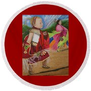 Cherokee Ribbon Dancers Round Beach Towel