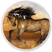 Round Beach Towel featuring the painting Cherokee by Valerie Anne Kelly
