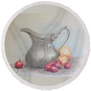 Cherries Still Life Round Beach Towel by Marilyn Zalatan