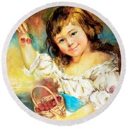 Round Beach Towel featuring the painting Cherry Basket Girl by Sher Nasser