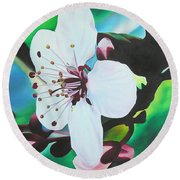 Round Beach Towel featuring the painting Cherry Blosom by Joshua Morton