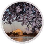 Cherry Blossom Tree With A Memorial Round Beach Towel